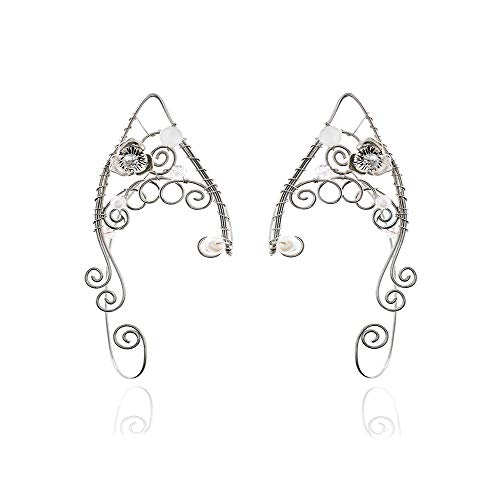 Yolmina Elf Ear Cuffs, Handmade Clip-on Earrings - Pearl Wing Tassel Filigree Elven Cuff Wrap Earrings for Women - Fantasy Fairy Halloween Costume, Cosplay, Wedding, Handcraft (more styles) ()