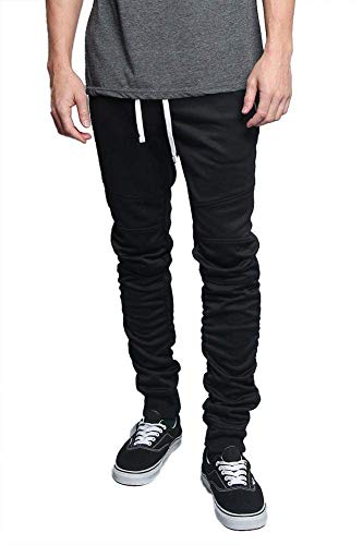 (Men's Scrunched Bungee Calf Solid Color Sectional Knee Drawstring Premium Track Pants TR547 - Black - Small - GG8E)