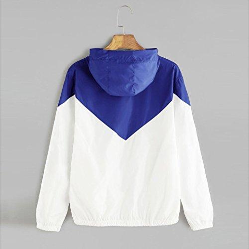 Kword Patchwork Blu Sport Felpa Tasche Donna Felpa Manica Donne Lunga Skinsuits con Camicia Maglietta Cappuccio Zip Sottile Ragazza Felpa Cappotto zFzAwaHqr