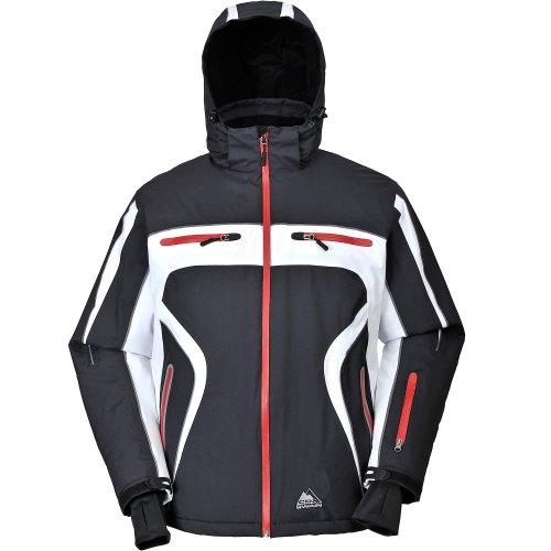COX SWAIN Titanium Herren Ski-/Snowboard Funktionsjacke FINLEY RECCO 15.000mm, Farbe: Black/White - red zipper, Größe: M
