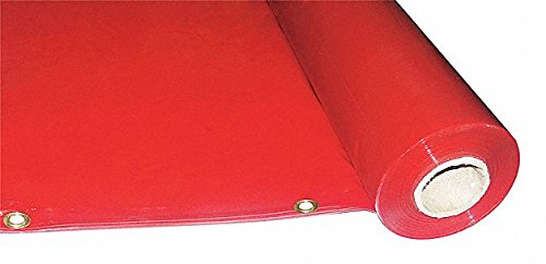 Transparent PVC Welding Curtain Roll, 5 ft. H x 75 ft.W x 0.014'' Thick, Red