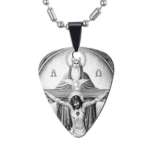 Holy Trinity Jesus Christ Guitar Picks Necklace - Stainless Steel - Guitar Player Gift - Catholic Christian -