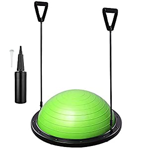 "GHP 22.8""x9"" ABS Base Green PVC Yoga Exercise Ball w 2 Elastic Strings & Air Pump"