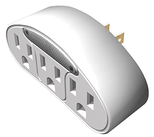 (2-Pack) 3-Outlet 120 Volt Adapter With Accent Light
