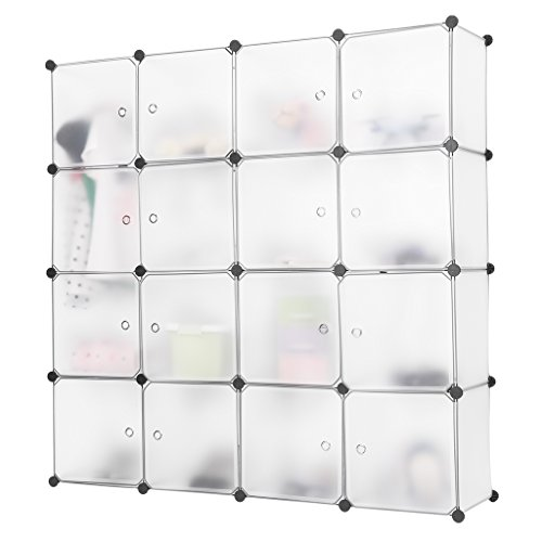 LANGRIA 16 Cubby Shelving Cube Organizer Plastic Storage Cubes Drawer Unit, DIY Modular Bookcase Closet System Cabinet with Translucent Design for Clothes, Shoes, Toys (White)