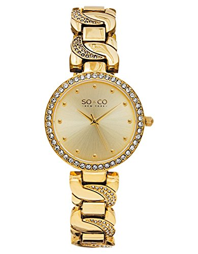 Amazon #LightningDeal 80% claimed: SO & CO New York  Women's 5062.2 SoHo Analog Display Quartz Gold Watch