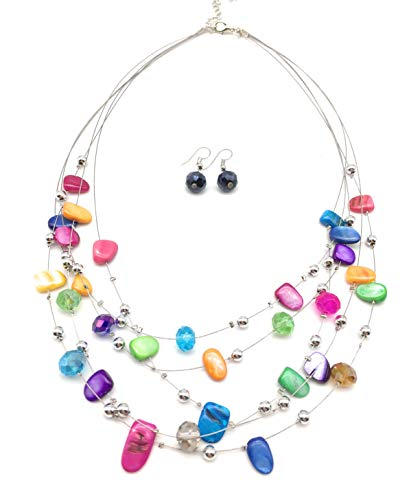 xinpeng Irregular Floating Multicolor Simulated Shell Pearl Necklace Pendant & Drop Dangle Hook Earrings Multi Strand Layered Necklace