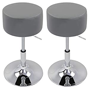 WOLTU Bar Stools Set of 2 Faux Leather Bar Stools Grey Gas Lift Seat Adjustable 360° Swivel Kitchen Dining Stools Chairs