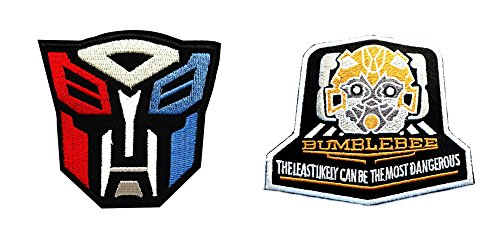 J&C Family Owned Transformers Autobots Logo w/Bumble Bee (2-Pack) Embroidered Sew/Iron-on (Transformer Costume Video Bumblebee)