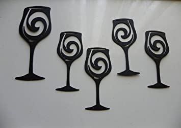 Wine Glasses Set Of 5 Metal Wall Art Wall Accent Home Kitchen Decor