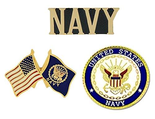 Navy Lapel Pin - USN U.S. Navy Pins - Novelty Hat Pin 3 PACK