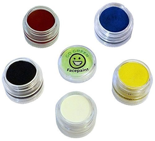 Face Paint Kit for Kids - Organic Paints for Many Faces Professional Award Winning Face Painting Set Safe for All Skin Types - 5 Washable Non-Toxic Face Paints Works Well with Stencils & Brushes -