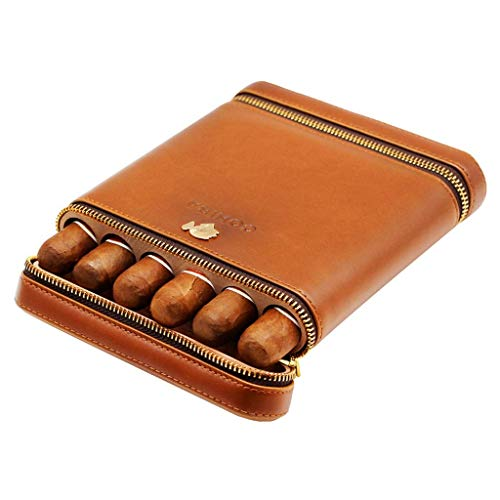 Wsjxr Cigar Humidors Cigar Box Cigarette Case Men's Gift Box, 6 Sticks Travel Portable Cigar Humidor Cedar Wood Lined Leather Surface, Brown Leather Case Suitable for The Office