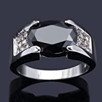 Meenanoom Size 8,9,10,11 Luxury Black Sapphire Solitaire Gold Filled Fashion Rings For Men (11)