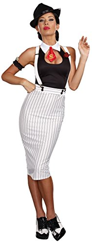 [Dreamgirl Women's Dirty Work White Pinstripe Gangster Pin-Up Costume, White/Black, Large] (Gangster Girl Costumes)