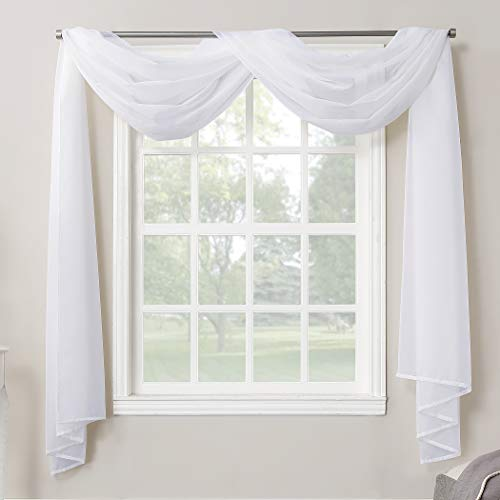 No. 918 Emily Sheer Voile Rod Pocket Curtain Panel, Valance Scarf, White