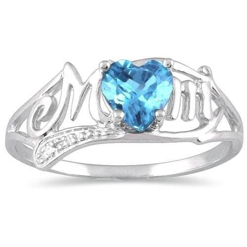 0.50 Ct Blue Topaz Heart & Diamond Mom Ring .925 Sterling Silver Rhodium Finish