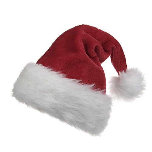 B-Land Traditional Red and White Plush Christmas Santa Hat for Christmas Party Celebration - Santa Hat Plush