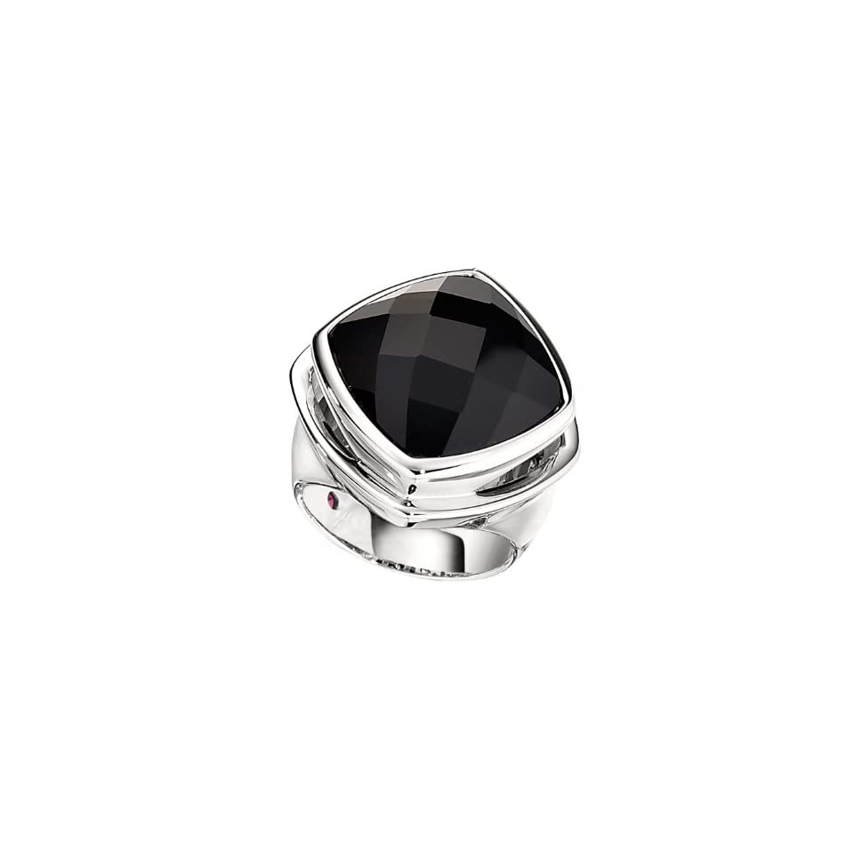 ELLE .925 Sterling Silver Fashion Jewelry Black Agate Ring