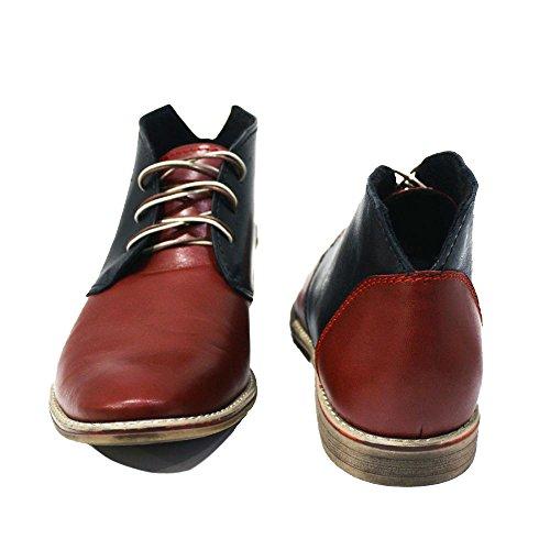 Ivrea in Rosso Handmade Modello Pelle Pelle Chukka Uomo Vacchetta Boots Allacciare Italiano da Morbido fxdxXH1
