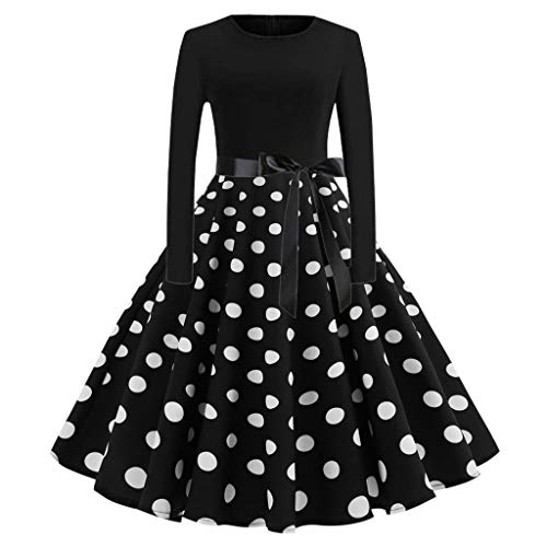 kaifongfu Long Sleeve Womens Dress with Musical Print Swing Dress for Evening Party (b ()