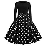 Christmas Women Holiday Vintage Evening Point Party Prom Swing Dress,Long Sleeve High Waist Back Zipper Bodycon Costume (Black, S)
