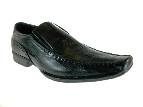 Bonafini Mens G-219 Classic Slip On Dress Mocassini Scarpe Nere