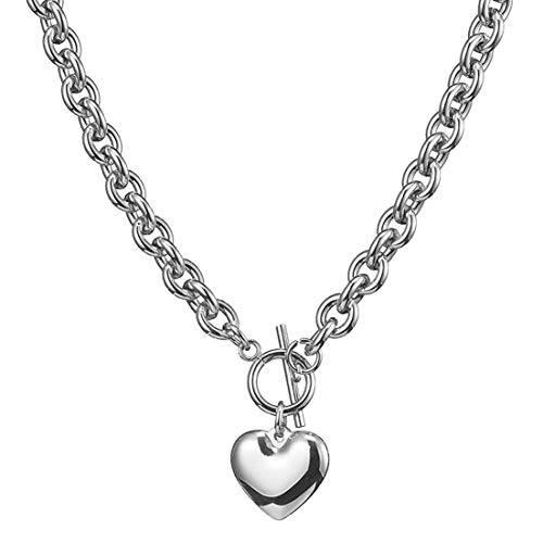W/W Lifetime Womens Girls Stainless Steel Toggle Clasps Silver Tone Fashion Heart Choker