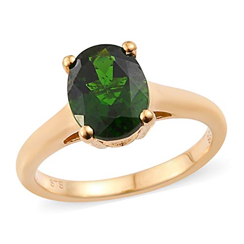 Solitaire Ring 925 Sterling Silver Vermeil Yellow Gold Oval Chrome Diopside Jewelry for Women Size 8 Ct 1.5