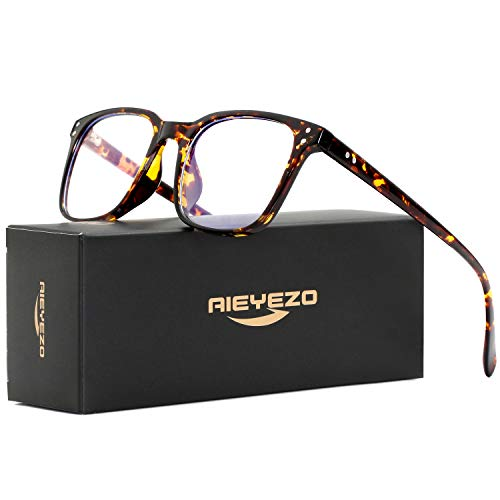 Blue Light Blocking Glasses for Men Women's Square Eyeglasses Unbreakable TR90 Frames with 100% Anti-Blue Light Lens (Tortoise ()