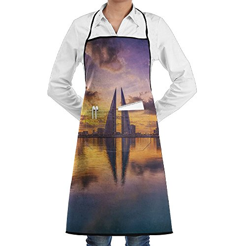 Leisue Bahrain World Trade Center Apron Lace Unisex Mens Womens Chef Adjustable Polyester Long Full Black Cooking Kitchen Aprons Bib With Pockets For Restaurant Baking Crafting Gardening BBQ Grill]()