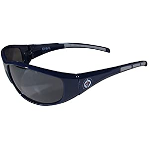 NHL Winnipeg Jets Wrap Sunglasses, Navy Blue, Adult