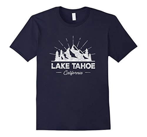 Mens Lake Tahoe California CA T Shirt Vintage Hiking Retro Tee 2XL Navy