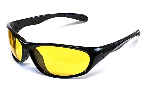 Calabria 2715 Night Driving Sunglasses in Gloss Black with Yellow Tint