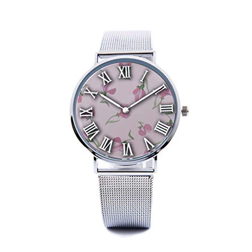 Unisex Fashion Watch Sweet Peas Hand Painted Flowers Print Dial Quartz Stainless Steel Wrist Watch with Steel Strap Watchband for Men Women 40mm Casual - Watch Wallpaper Border