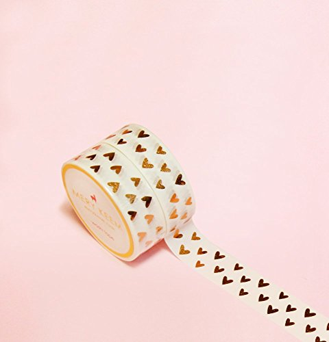 Heart Shapes in Gold Foil Washi Tape for Planning • Scrapbooking • Arts Crafts • Office • Party Supplies • Gift Wrapping • Colorful Decorative • Maski…