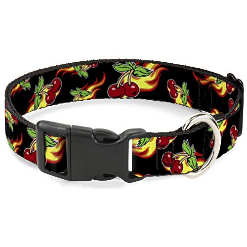 Cat Collar Breakaway Flaming Cherries Scattered Black 9 to 15 Inches 0.5 Inch Wide ()