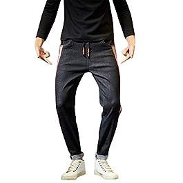 Denim Harem Pants for Men Patchwork Stretch Slim Fit Biker Jeans Teen Boy Casual Washed Distressed Pocket Pencil Pants