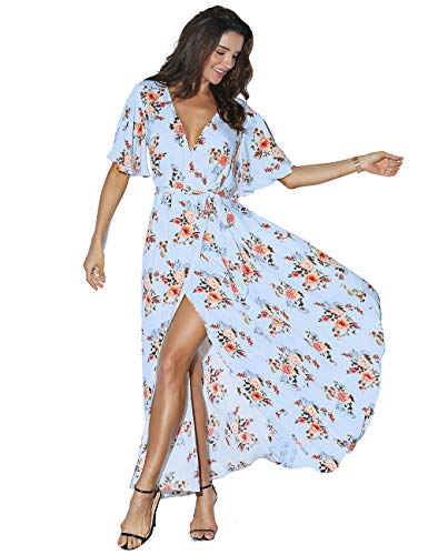 Azalosie Women Wrap Maxi Dress Floral Short Sleeve Flowy Slit Tie Waist Summer Beach Party Wedding ()