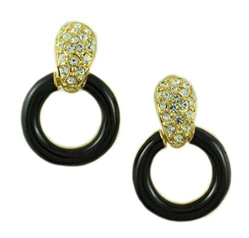 Gold Black Circle Doorknocker Pierced (Door Knocker Pierced Earrings)