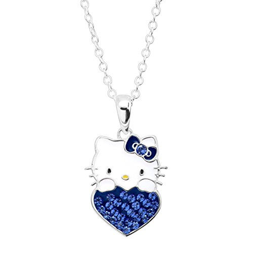 Finecraft Girl's Hello Kitty September Heart Pendant Necklace with Crystals in Sterling Silver-Plated Brass