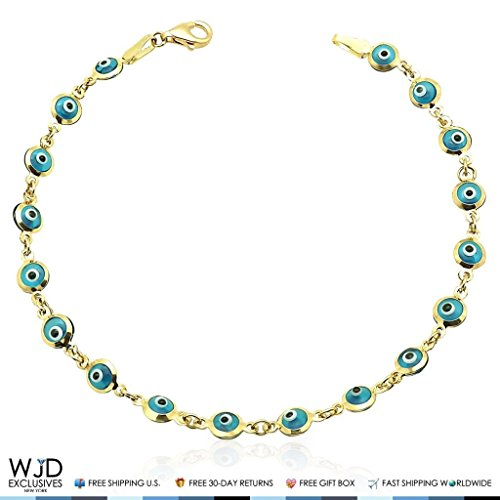 14k Yellow Gold Good Luck Evil Eye Cable Charm Bracelet 7'' by WJD Exclusives