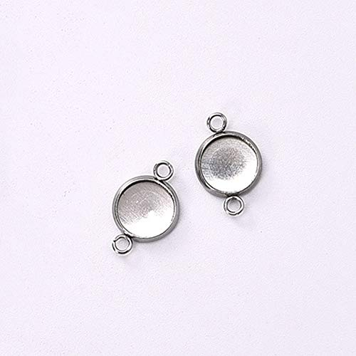 - Pendant Trays - 50pcs/lot 6 mm Stainless Steel Connector Setting Cabochon Base 1/1 Loop Flat Round Bezel DIY Component Cameo Charm Pendant Trays