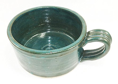 Aunt Chris' Pottery - Hand Made Clay - Large Soup Bowl - Green Blue Glazed Colored - With Sturdy Loop Handle - You Can Spoon It Out - Drink It Right Of The Bowl ()