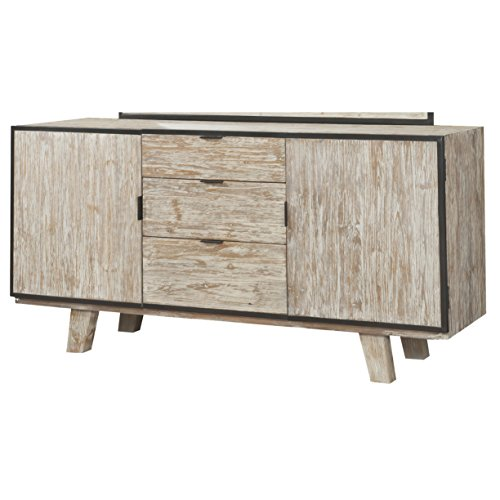 Emerald Home Synchrony Pearl Buffet with Metal Detailing, Three Drawers, And Adjustable (3 Drawer Sideboard Server)