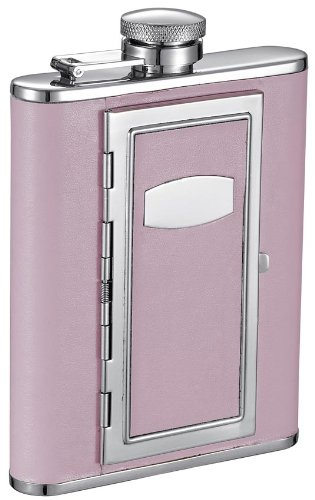 Visol''Fiore'' Leatherette Stainless Steel Hip Flask with Built-In Cigarette Case, 6-Ounce, Pink by Visol