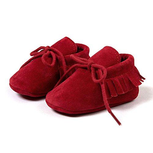 R&V Unisex Infant Baby Boys' Girls' Moccasins Soft Sole Tassels Prewalker Anti-Slip Toddler Shoes (L:12~18 Months, Bandage Red)]()