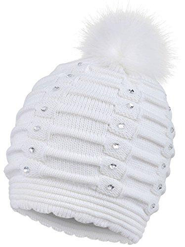 1f4ed28bf2230 Arctic Paw Womens Beanie Winter Warm Knitted Faux Fur Pom Pom Beanie Hat