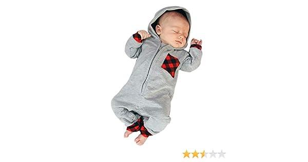 dc4c2aa63 Amazon.com  SRYSHKR Newborn Infant Baby Boy Girl Plaid Hooded Romper ...