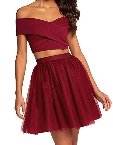 Dunkel Cocktailkleider Mini Mini Damen Festlichkleider Abendkleider Zwei Rot Partykleider Sexy Charmant teilig nIxv0qwfI